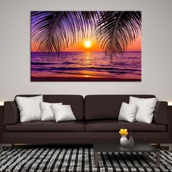 40832 - Sunset View Through Palm Tree Leaves Wall Art Canvas Print