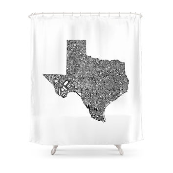 Society6 Typographic Texas Shower Curtains