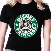 Ariel Mermaid Starbuck Disney Princess TV Womens T Shirts Black And White
