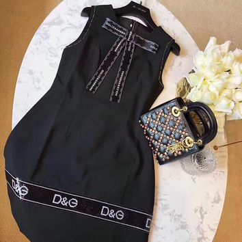 Dolce & Gabbana Splice Sequins Dress With Removable Bow Ribbon