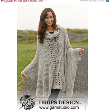 CHRISTMAS in JULY SALE Preorder Knitted Poncho with Lace Pattern - Light Grey - Alpaca - Fall winter 2013 / 2014 trend