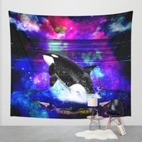 space whale wall tapestry,space wall tapestry,whale wall tapestry,the killer whale wall tapestry,universe wall tapestry,nebula wall tapestry