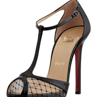 Christian Louboutin Lagoula T-Strap Fishnet Red Sole Pump