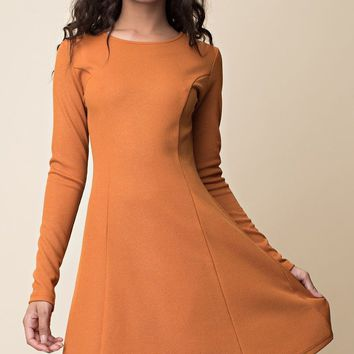 Uptown Miss Detailed Dress in Rust