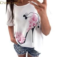 Chamsgend Newly Design T Shirt Women High Heel Shoes Print Short Sleeve Summer Shirt White 80413