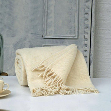 Cream wool blanket,Sofa throws,Wool throw blanket,Warm blanket,Twin wool blanket,Throw blanket,Wool blanket,Throws for sofa,Wool throw