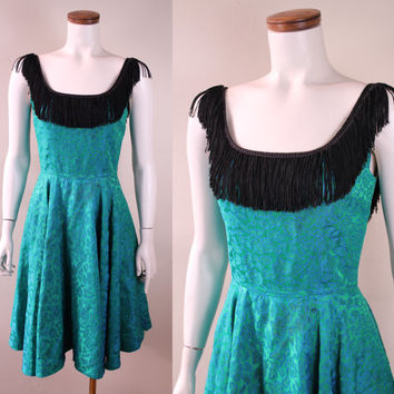 Vintage - 50s/60s - Blue & Kelly Green - Floral Embroidered Brocade - Black Fringe - Tassel Neckline - Full Circle Skirt - Cocktail Dress