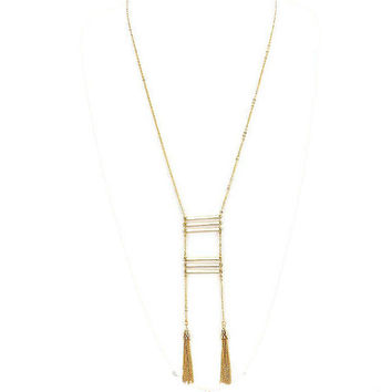Long Double Chain Tassel 6 Skinny Gold Bar Pendant Layering Necklace