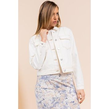 Denim Pocket Twill Jacket - Ivory