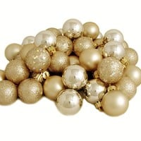 "60ct Champagne Gold Shatterproof 4-Finish Christmas Ball Ornaments 2.5"" (60mm)"