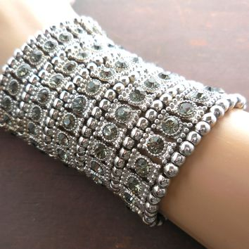 Wide Crystal & Silver Plated Metal Bead Stretch Bracelet