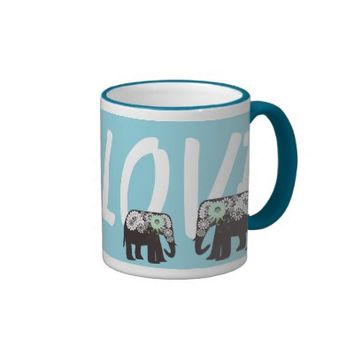 Big Love: Paisley Elephant Cute Mother and Child Coffee Cups: Wild Animal Girly Design Coffee Mugs: Her Birthday or Mother's Day Gift Idea