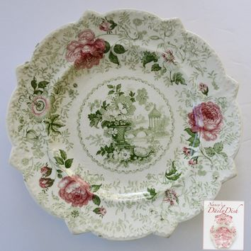 STUNNING circa 1835 Rare Pink Green Two Color Transferware Plate New Stone China Roses Urn