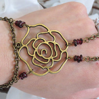 Rose Slave Bracelet Ring, Filigree, Rose, Flower, Floral, Red, Garnet, Gemstone, Beaded Bracelet Ring. Custom Sized Slave Bracelet