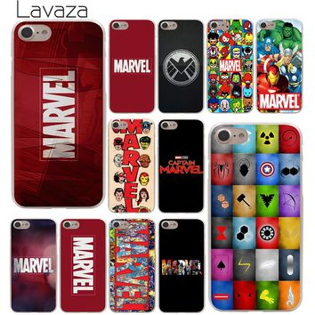 Lavaza Luxury Marvel Comics logo Hard Phone Cover Case for Apple iPhone 10 X 8 7 6 6s Plus 5 5S SE 5C 4 4S Coque Shell