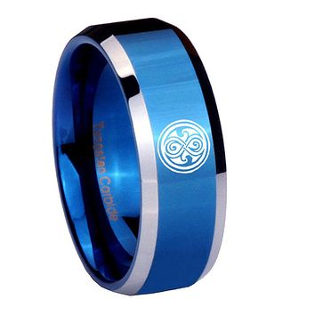 10mm Doctor Who Beveled Edges Blue 2 Tone Tungsten Carbide Mens Engagement Ring