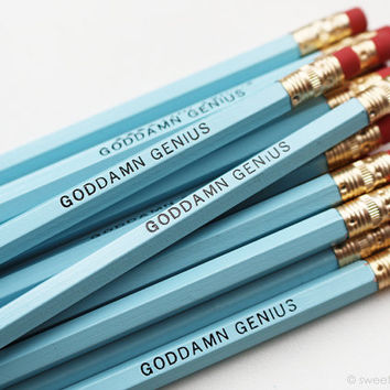 Goddamn Genius Pencil Set in Pale Blue
