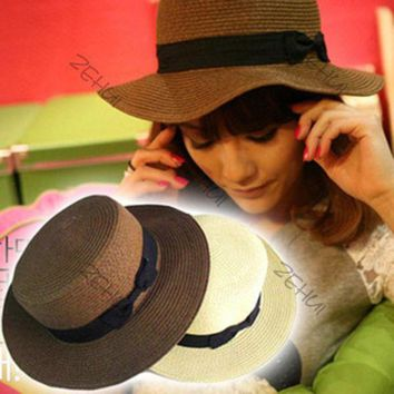CUPUP9G Chic Women Flat-topped Summer Beach Hat Bowknot Straw Boonie Fedora Cloche Hat