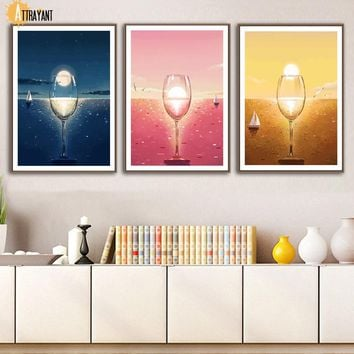 Abstract Wine Glass Sea Sail Sun Wall Art Canvas Painting Nordic Posters And Prints Wall Pictures For Living Room Bedroom Decor