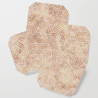 Iced coffee and white swirls doodles Coaster by savousepate