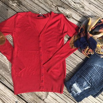 RED ELBOW PATCH CARDIGAN