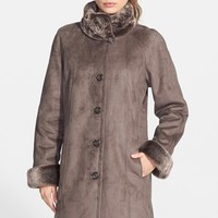 Women's Gallery Long Faux Shearling Coat with Faux Fur Trim (Online Only)