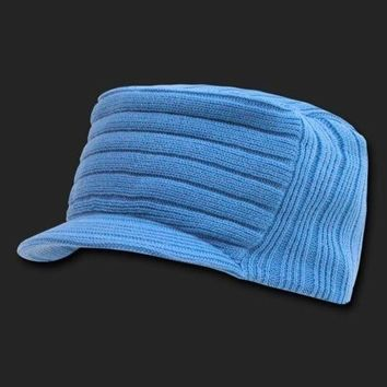 DCCK7BE SKY BLUE SOLID FLAT TOP VISOR BEANIE JEEP CAP CAPS HAT