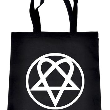 HIM Heartagram Tote Book Bag School Goth Punk Alternative