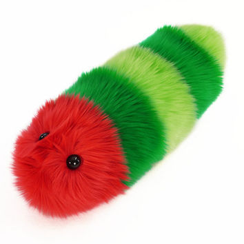 Stuffed Toy Red and Green Caterpillar Fuzzy Snuggle Worm
