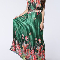 Green Floral Print Pleated Maxi Dress