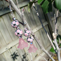 Handmade Pink Lucite Flower Glass Beaded Dangle Earrings