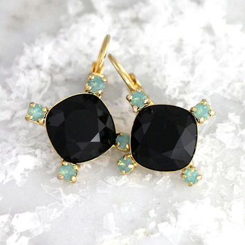 Black Earrings, Black Drop Earrings, Christmas Gift, Black Mint Opal Earrings, Black Swarovski Crystal  Earrings, Bridesmaids Earrings