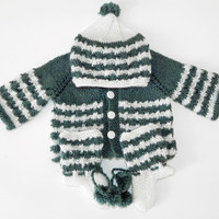 Soft Hand Knitted Baby Suit in Grey and White 0 to 3 mon