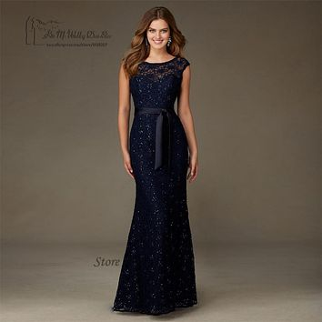 High Quality Navy Blue Lace Sequin Bridesmaid Dresses Long V Back Wedding Guest Dress Gowns Floor Length Vestido Madrinha