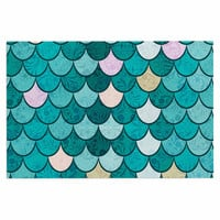 "Famenxt ""Mermaid Fish Scales"" Teal Nautical Illustration Decorative Door Mat"
