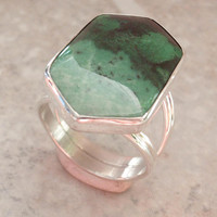 Sterling Jade Ring Large Colorful Green Hex Jay King Vintage 082213RO