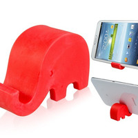 Elephant Design Cell Phone Tablet PC Stand Holder (Red)