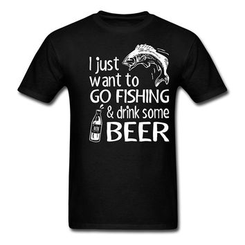 Go Fishing And Drink Some Beer Printed T-Shirt - Men's Crew Neck Novelty Tee