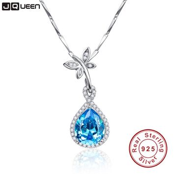 JQUEEN Natural Blue Topaz 925 Sterling Silver Water Drop Pendant Necklace 6.75Ct Pear Cut Jewelry Accessories 17.7 Inches