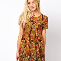 ASOS Smock Dress In Bright Paisley Print at asos.com