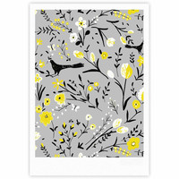 "Laura Nicholson ""Blackbirds On Gray"" Gray Yellow Fine Art Gallery Print"