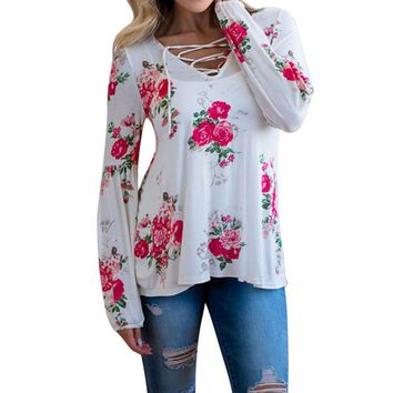 Women Autumn Long Sleeve Floral Printing Shirt Casual Blouse Tops Sexy V-Neck Cotton Women Clothes blusones blusa mujer manga