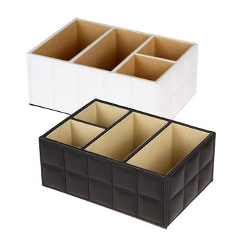 Wooden Storage Box Office Organizer PU Leather Wood Box Case Luxury Remote Control Holder Multi-functional Stationery Container