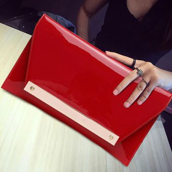 Excellent Quality 2017 NEW Ladies Evening Party Clutch Bag Bright PU Leather Eveningbag Bridal Purse Party Handbag Evening Bags