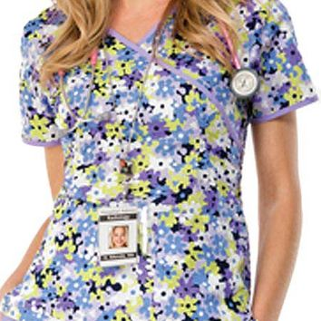Buy Runway Women's Camo-Fleurs Mock Wrap Scrub Top for $20.95