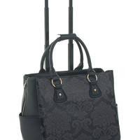 """ON SALE -- The """"DEL MAR"""" Damask Computer, iPad, Laptop, Tablet Rolling Tote Bag Briefcase Carryall Bag"""