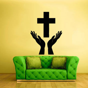Wall Vinyl Sticker Decals Decor Art cross hands prayer pray god Jesus Christianity (z2129)
