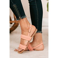 Don't Second Guess Me Double Strap Sandals (Coral)
