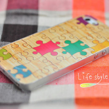 Apple iphone case for iphone iphone 5 iphone 4 iphone 4s: wood colorful puzzle (not real wood)