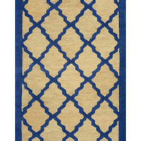 nuLOOM April Bordered Lattice Hand-Looped Rug - Blue